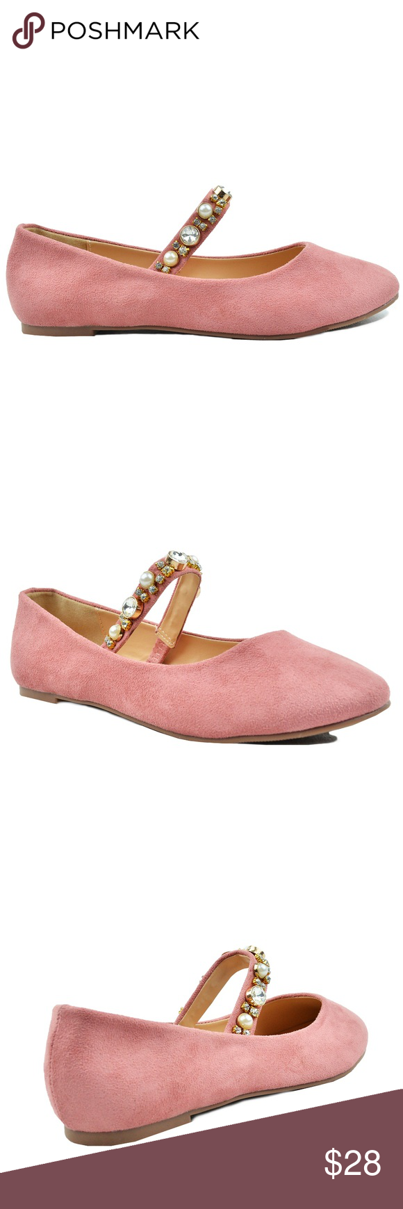 a7e58e24cc Women s Mary Janes Rhinestone Round Toe Mauve Flat Round Toe Mary Jane  Strap With Rhinestones Women s Ballet Flat Very Comfy Shoes Imported Faux  Suede ...