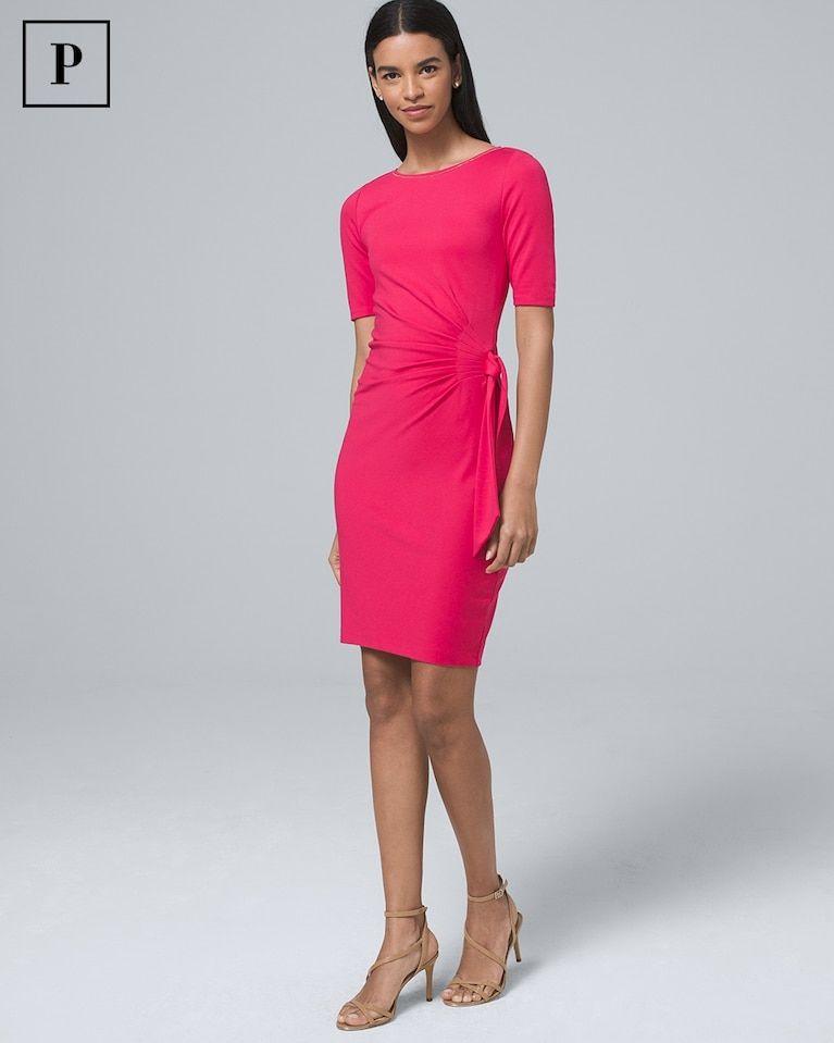 3ad9da34 Women's Petite Side-Tie Polished Knit Shift Dress by White House Black  Market