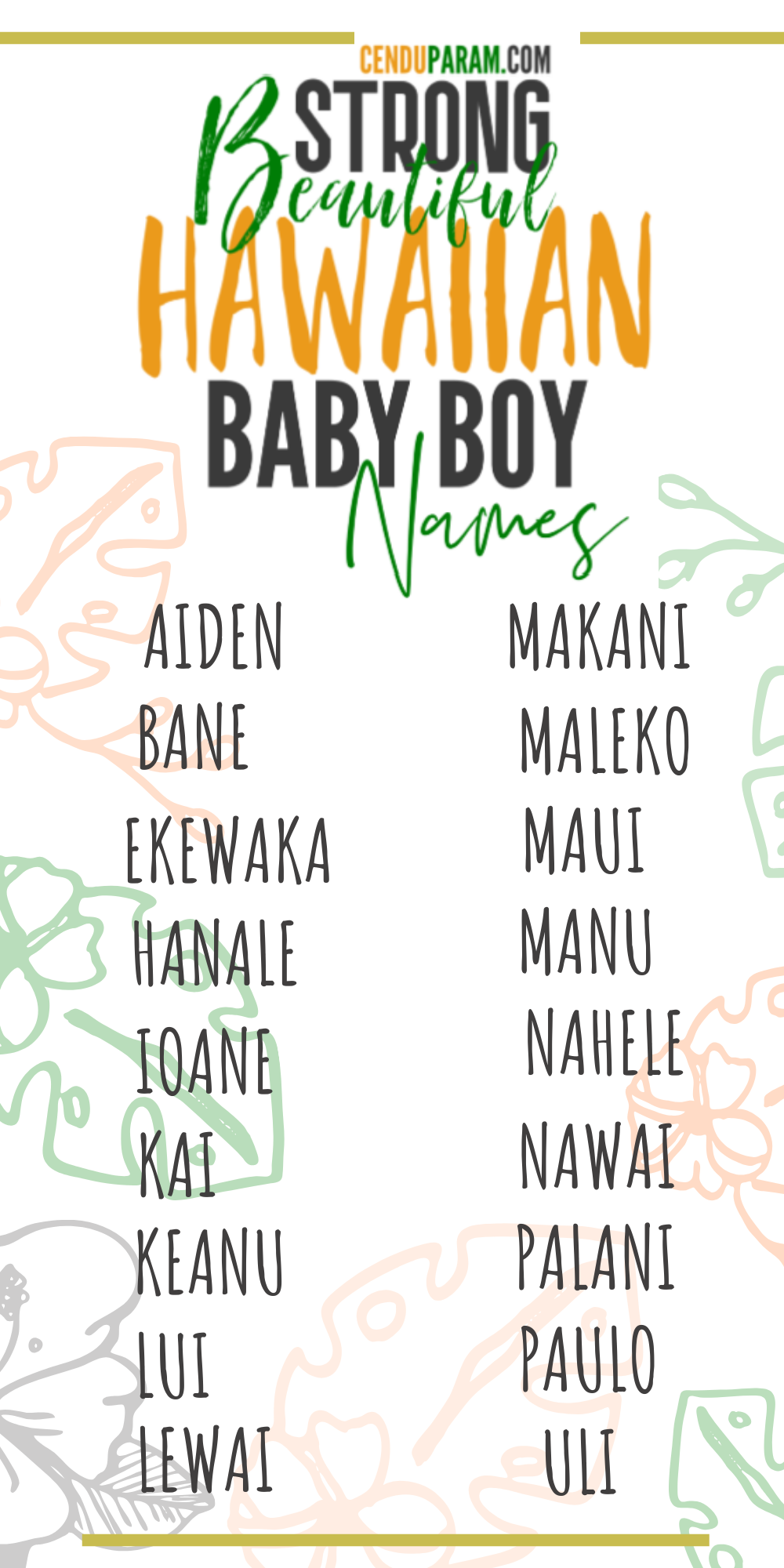 Strong Hawaiian Baby Boy Names And Meanings Unique Baby Names Hawaiian Baby Baby Girl Names Unique