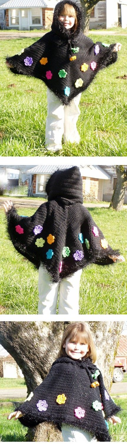 Crochet Pattern for Girls Hooded Poncho With Flowers pdf | Patrón de ...