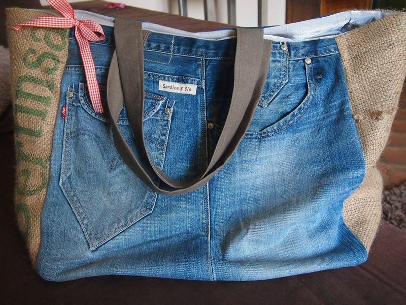 sac jean/toile de jute sardine & cie | sacs | pinterest | sac jean
