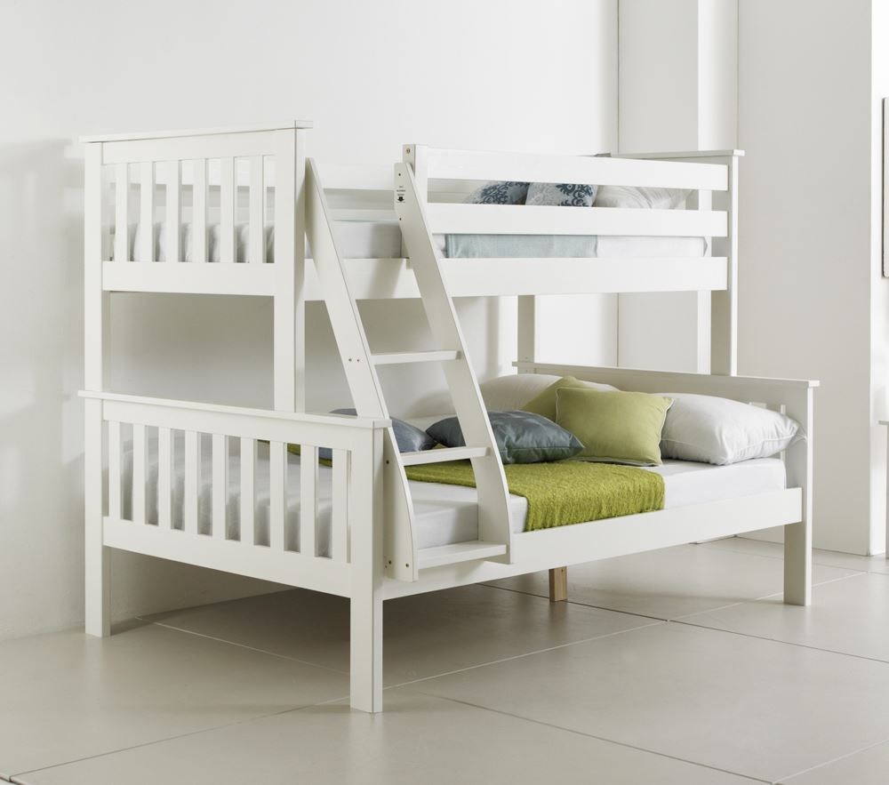 High sleeper loft style cabin bed with hideaway futon bed rutland - Happy Beds Atlantis Wooden Triple Sleeper Bunk Bed