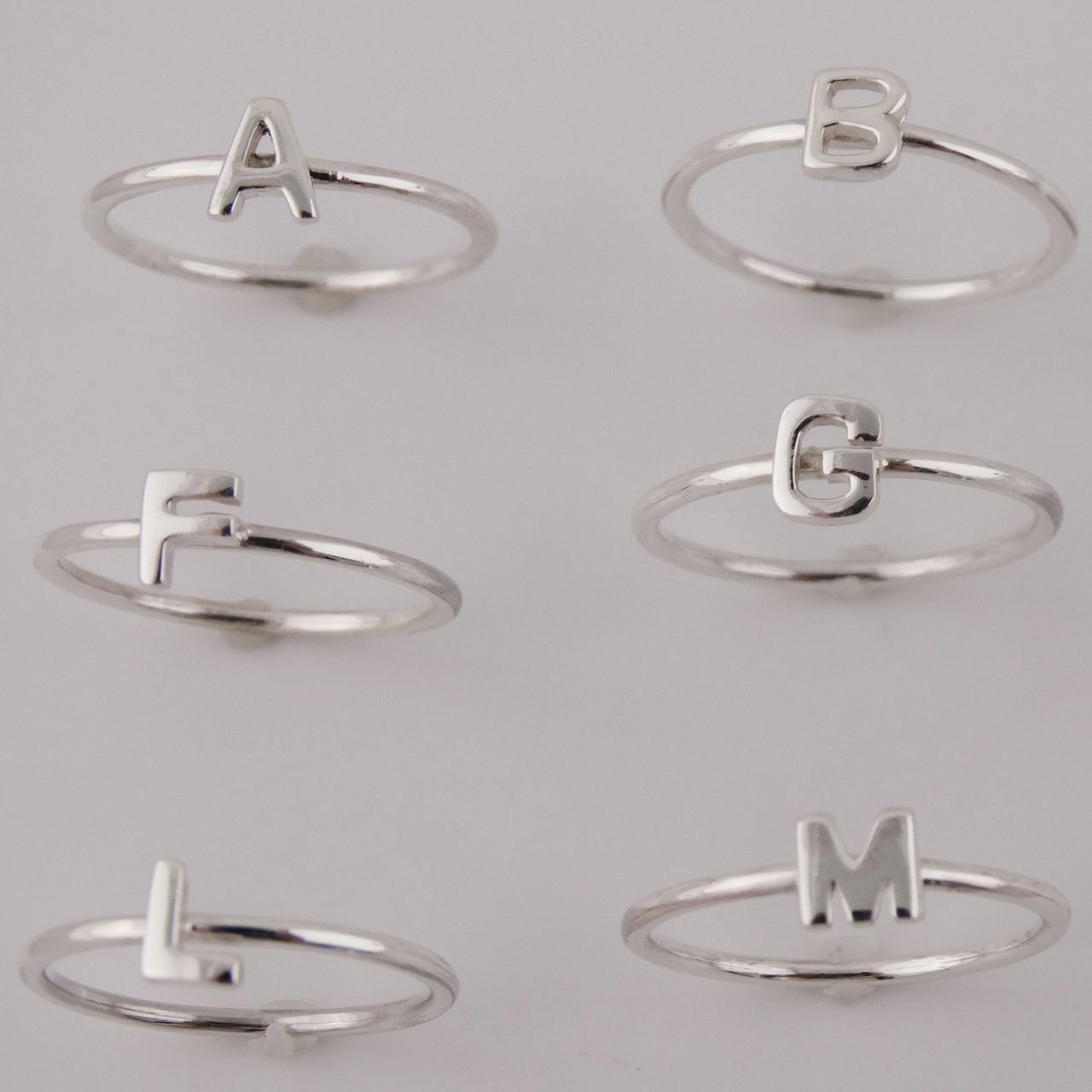 Stacking Letter Rings 925 Sterling Silver Silver