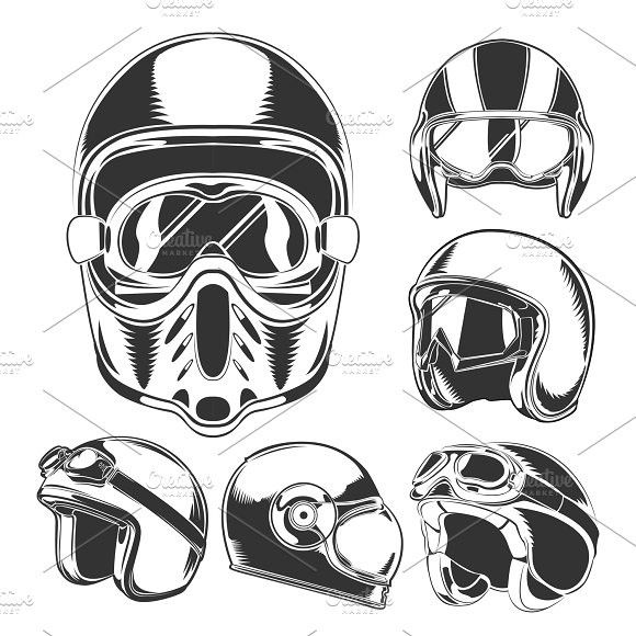 Motorcycle Helmet Collection Vintage Icons Motorcycle Helmets Vector Illustration