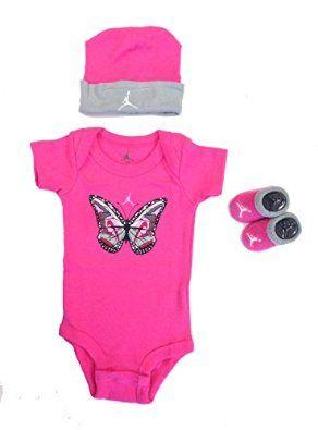 c0f48832feef Jordan Baby Clothes Girls Shoe Butterfly 3 Piece Set (0-6m) Pink