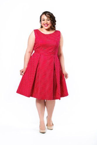 Fashion Bug Polka Dot Fit and Flare Dress Plus Size. www ...