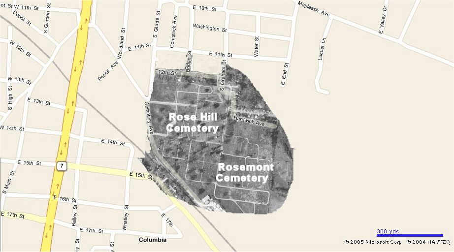 This Map Shows The Layout Of The Rose Hill Cemetery In Blocks