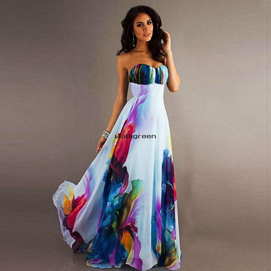 Women Boho Chiffon summer maxi dress beach long Party Dresses ...