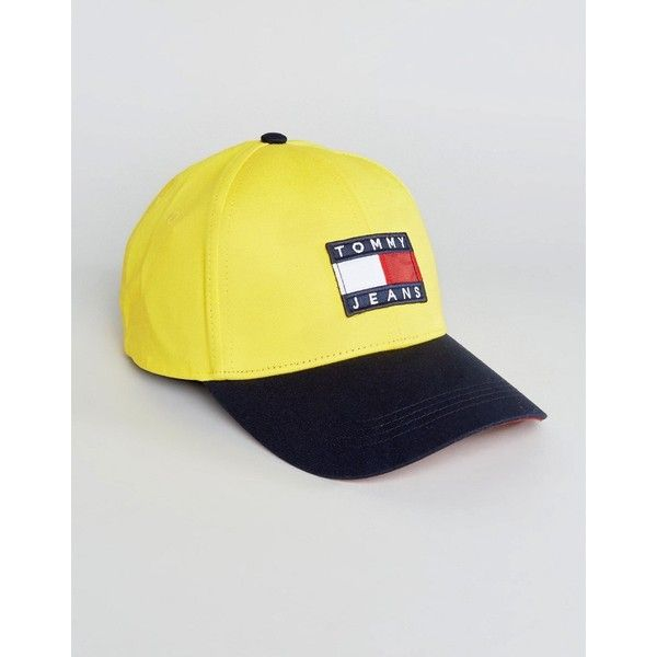 Tommy Jeans 90 s Capsule Colourblock Baseball Cap in Yellow Navy ( 47) ❤  liked on Polyvore featuring men s fashion c92e018eb6a1