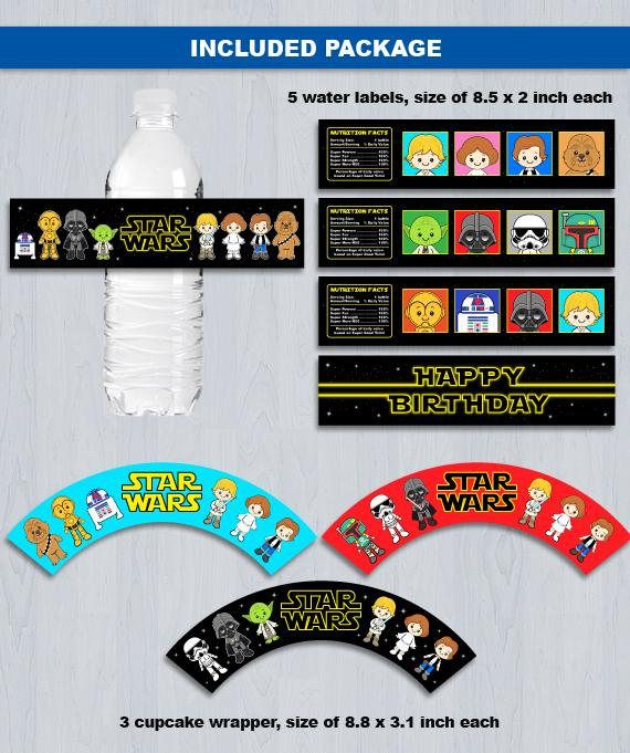 Ultimate Star Wars Party Set Combo Digital File INSTANT DOWNLOAD ----------------------- ★★ Package Included ★★----------------------------------- You will received 5 PDF files of the following: * 20 Cupcake Toppers & 6 Cupcake Wrapper in 1 PDF File, neatly layout in 8.5 x 11 sheet * 23