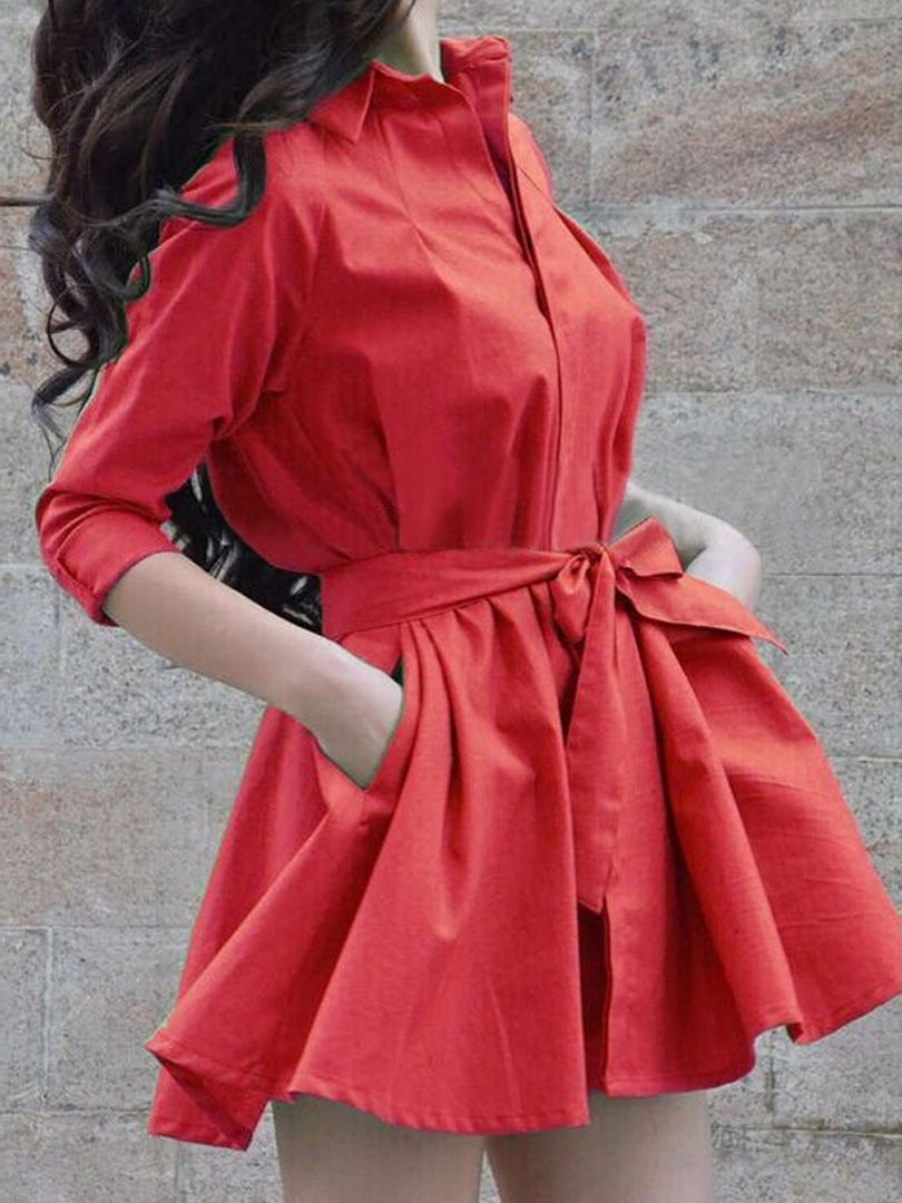 Red tie waist long sleeve shirt dresstop choies robes à croquer
