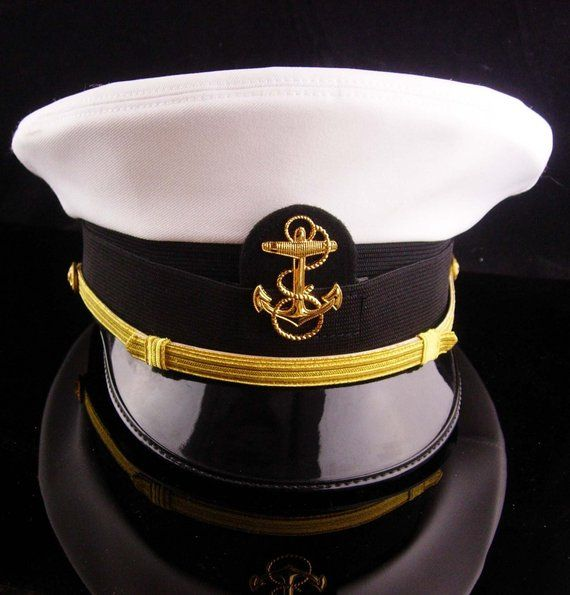 4b50b396 Vintage USN officer hat - US NAVY white mens Officers Hat - Size 7 Bancroft  Cap - Military anchor e