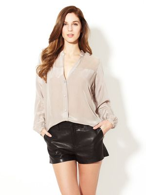 Zoe & Sam Chiffon Yoke Button Down Blouse