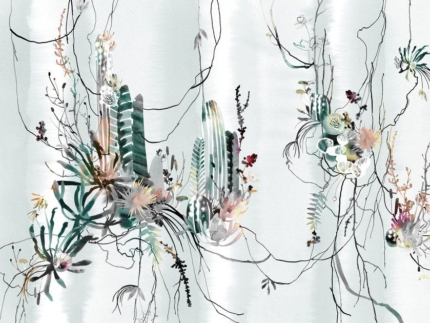 Wallpaper with floral pattern NESTER Warp Collection By