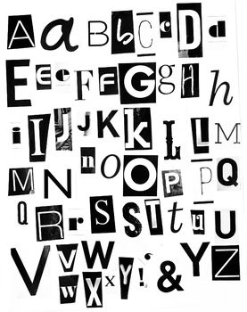 Alphabet Pictures For Each Letter Black And White.Printable Magazine Letters Black White Alphabet A Z