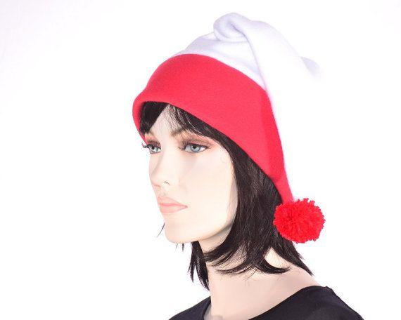 b6420b122d2e8 White Red Stocking Cap Fleece S with Pompom Warm Winter Fleece Hat ...