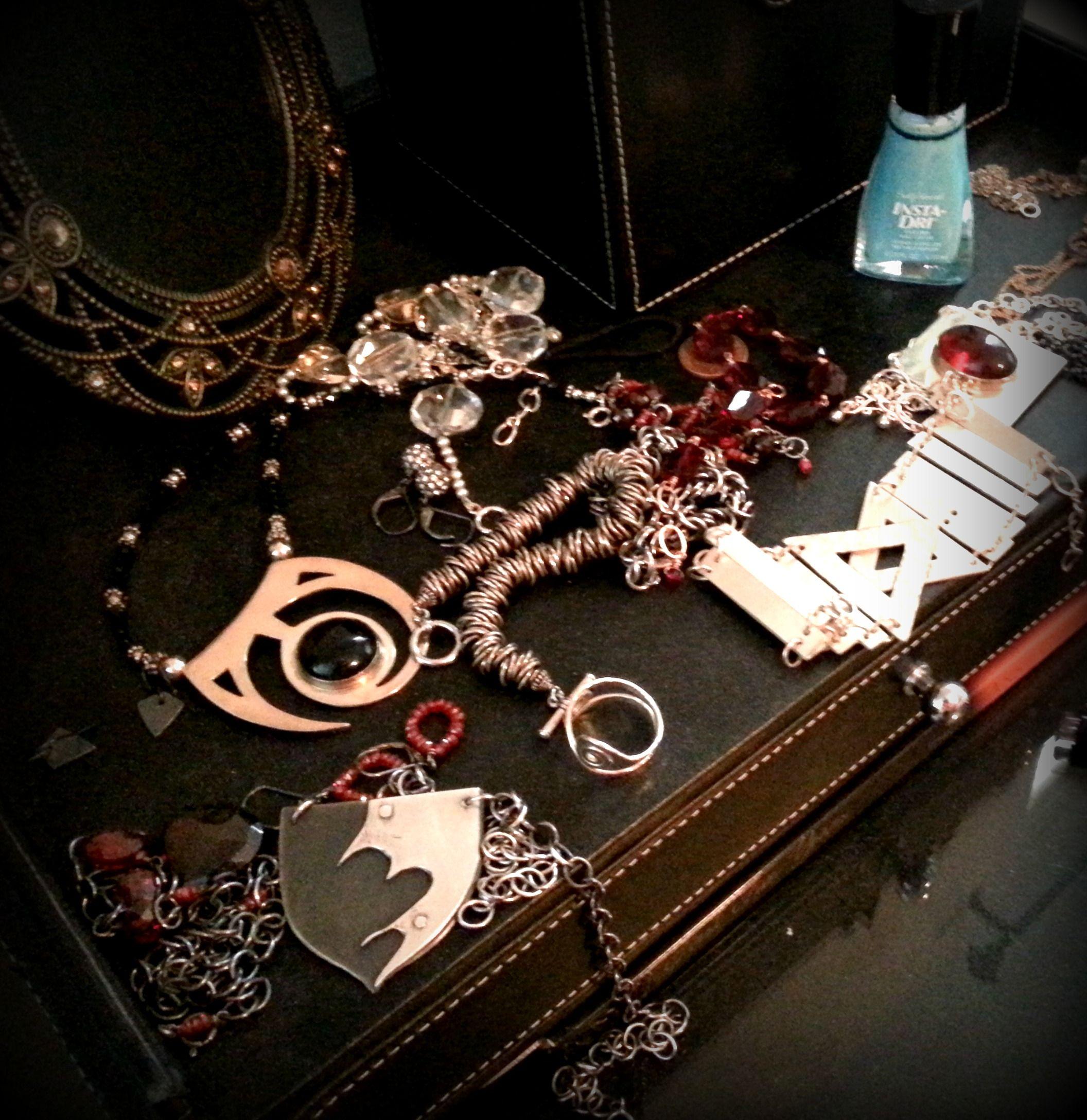 My jewelry hoarding stash, I LOVE every piece. #jewelry #earrings #bracelet #stash #metal #medieval #shield #maidenattire #necklaces #rockit #heavymetal
