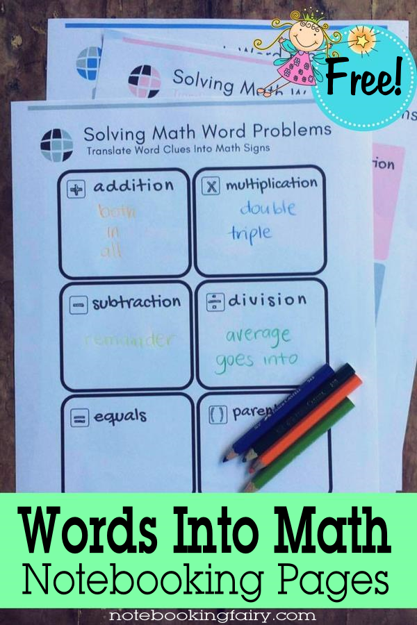 Words Into Math Notebooking Pages • solving math word problems ...