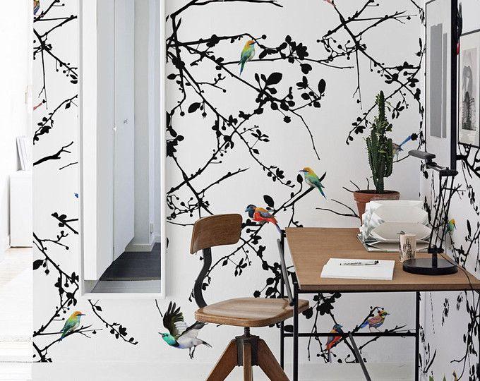 Bird wall mural, Removable wallpaper, Peel and stick bird