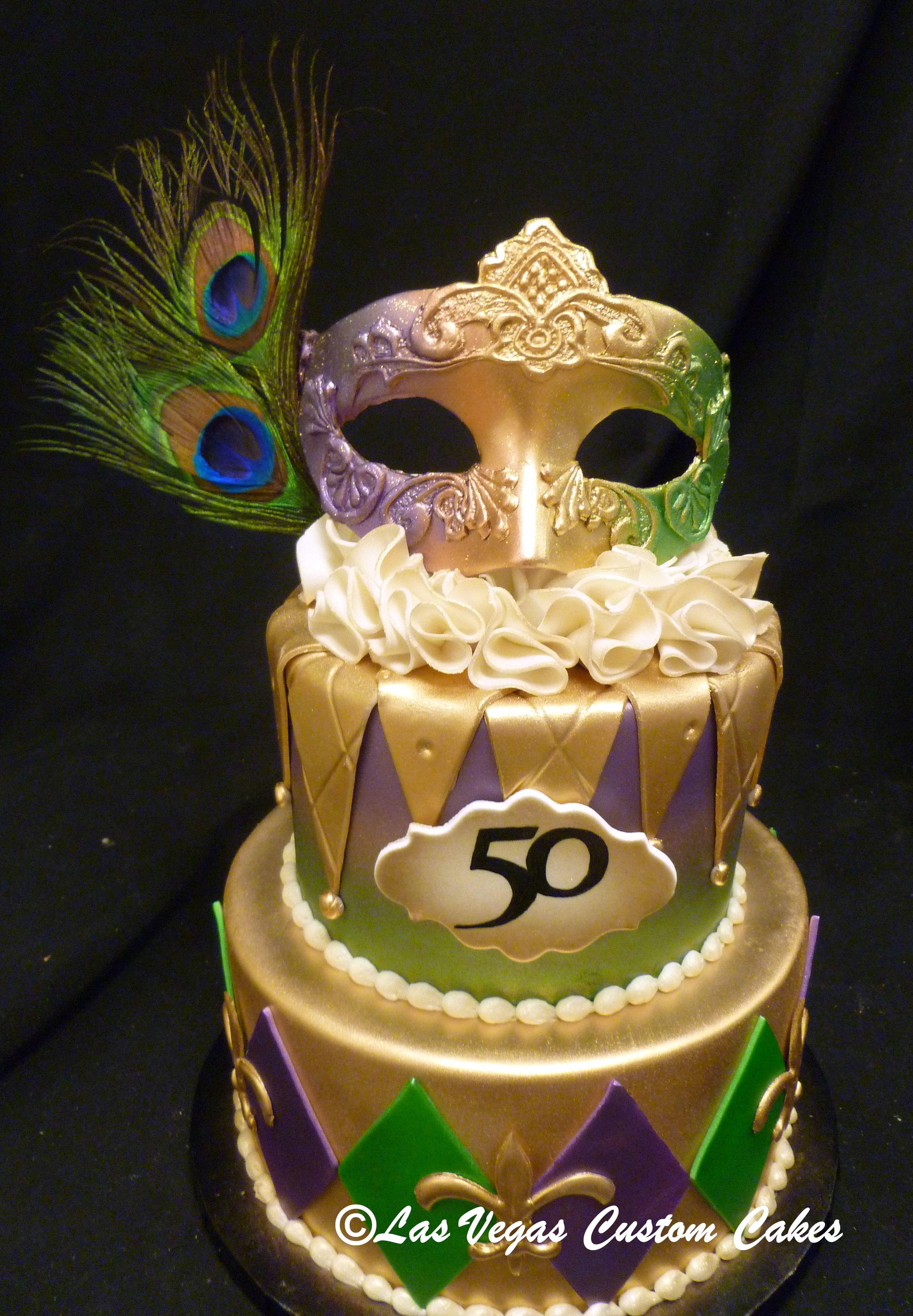 Mardi Gras Themed Birthday Cake Made By Las Vegas Custom Cakes