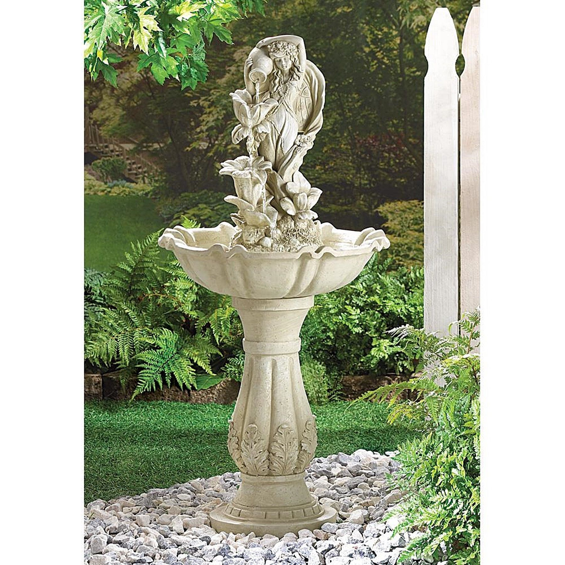 Healy Fairy Maiden Standing Water Fountain, Grey (Ceramic), Outdoor Décor