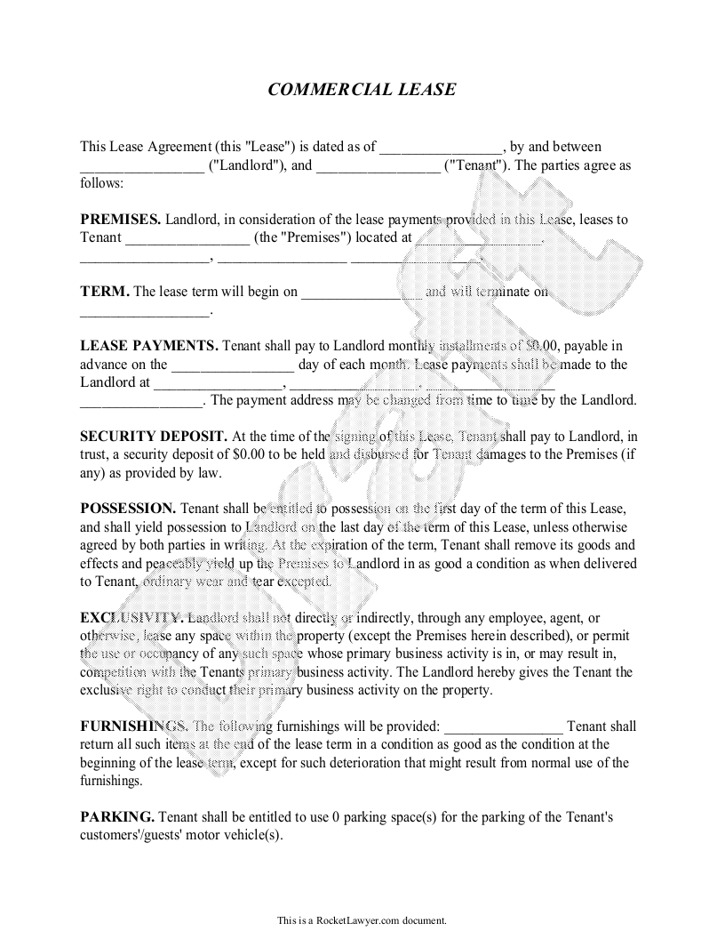 Commercial Lease Agreement Form, Sample, Template