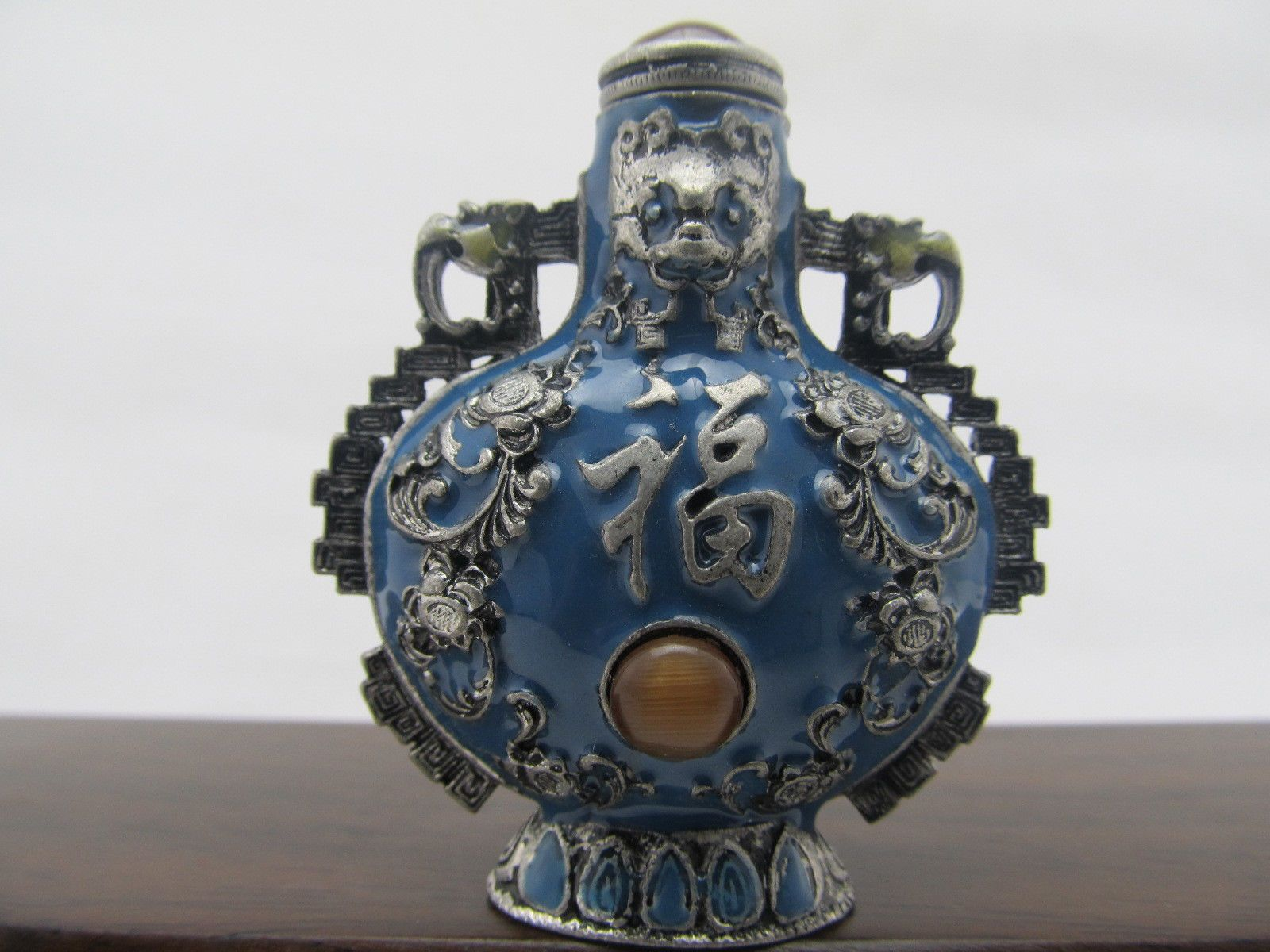 Rare Chinese antique 2.5 inches Hand-Make Fuk TING Silver snuff bottle Qing
