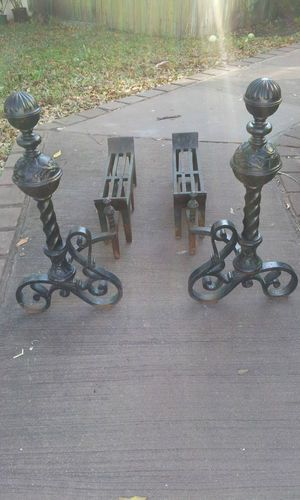 Vintage Cast Iron Fireplace Andirons with Log Grate for Large ...