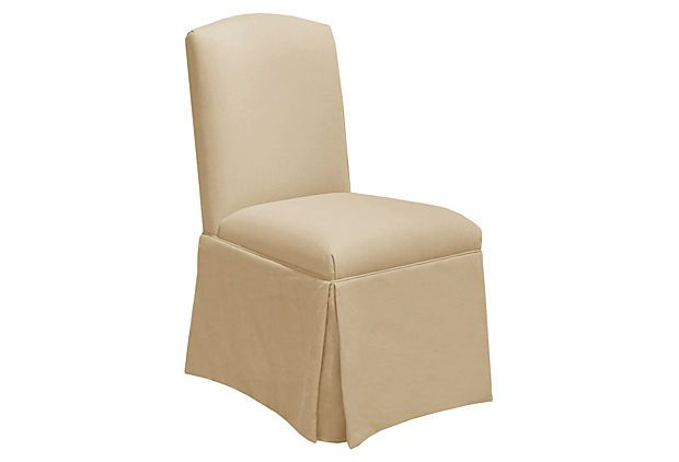 Crawford Skirted Chair, Linen Sandstone on OneKingsLane.com