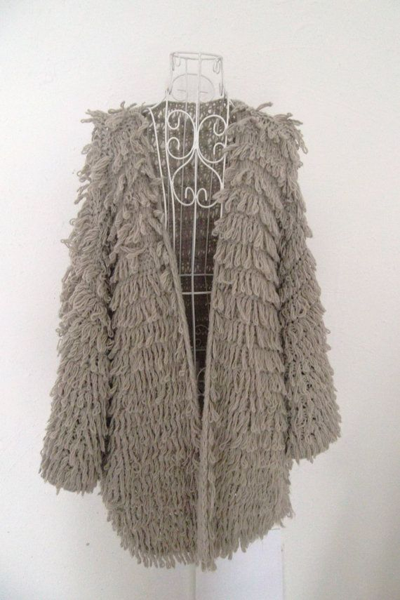Loopy Cardigan Knitting Pattern : Vintage crochet loopy knitted fringe tassle shaggy by