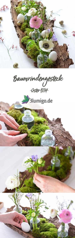 Make table decoration for Easter itself  a springtime arrangement on tree bark  Tischdeko