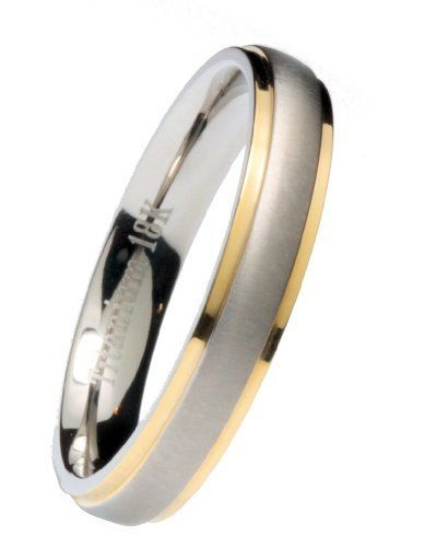 Titanium Wedding Ring 18k Plated Edges Comfort Fit Band 4mm Sizes