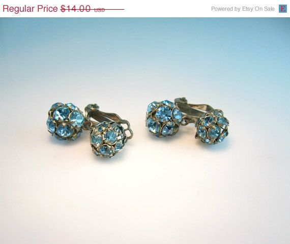 Rhinestone Earrings. Aqua Blue. Vintage 1950s by bohemiantrading