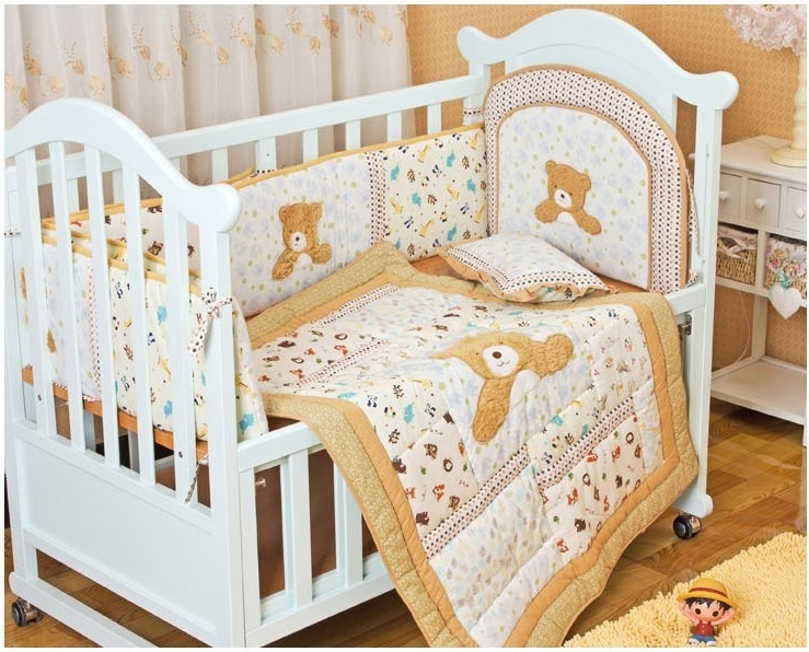 86.00$  Watch now - http://alisze.worldwells.pw/go.php?t=32602156048 - Promotion! 6PCS embroidery bebe jogo de cama crib bedding set for baby bed set,include(bumper+duvet+bed cover) 86.00$
