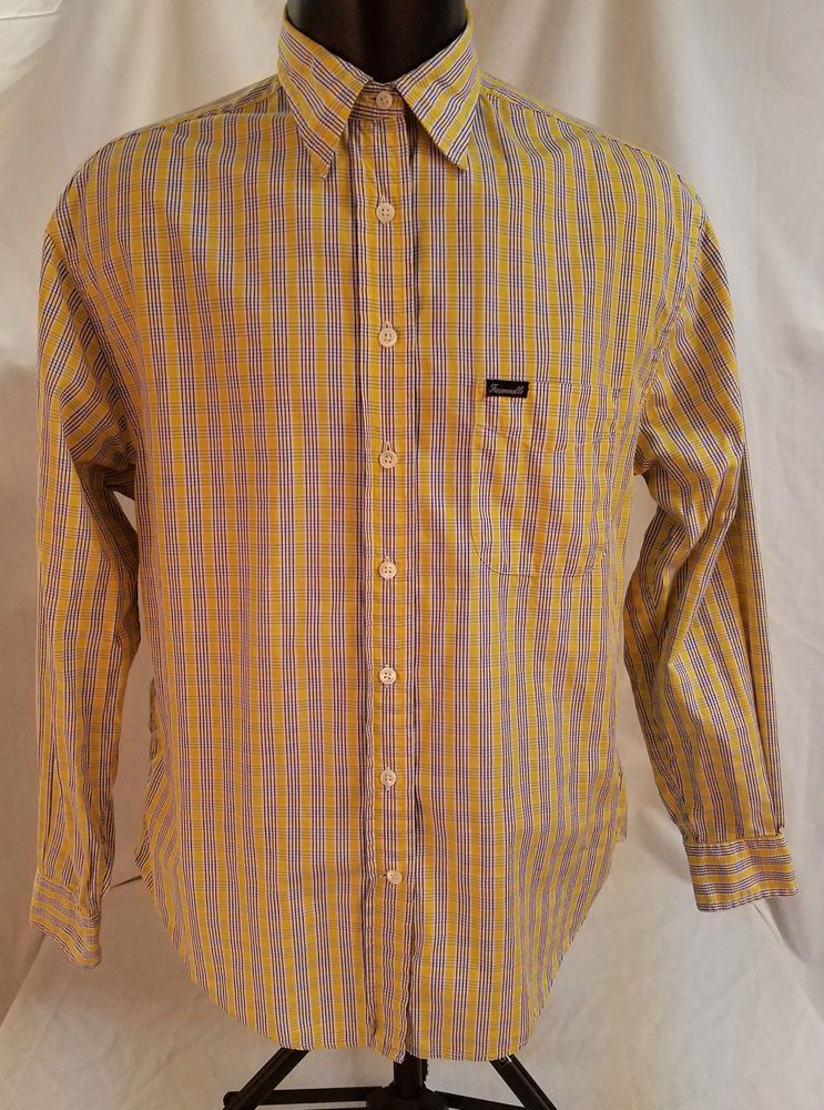 60ecd572175ef8 FACCIONABLE Mens M Long Sleeve Button Front 100% Cotton Multicolor Plaid  #FACCIONABLE #ButtonFront