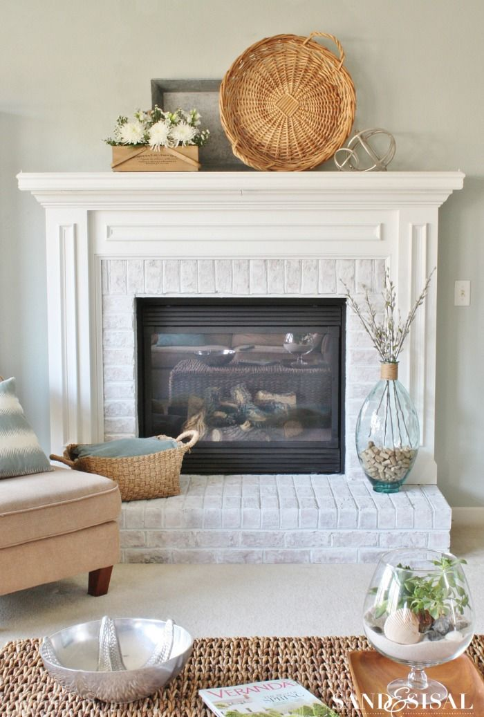 White Wash Red Brick Fireplace