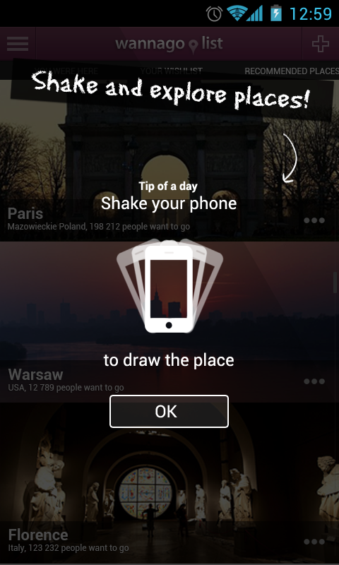 Feature VIII Shake for random places... features app