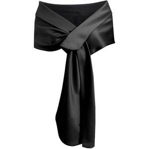 5861f77800a9 Noir Echarpe Châle Foulard Etole Satin Pour Femmes Robes de Cérémonie  Soirée Mariage Mariée