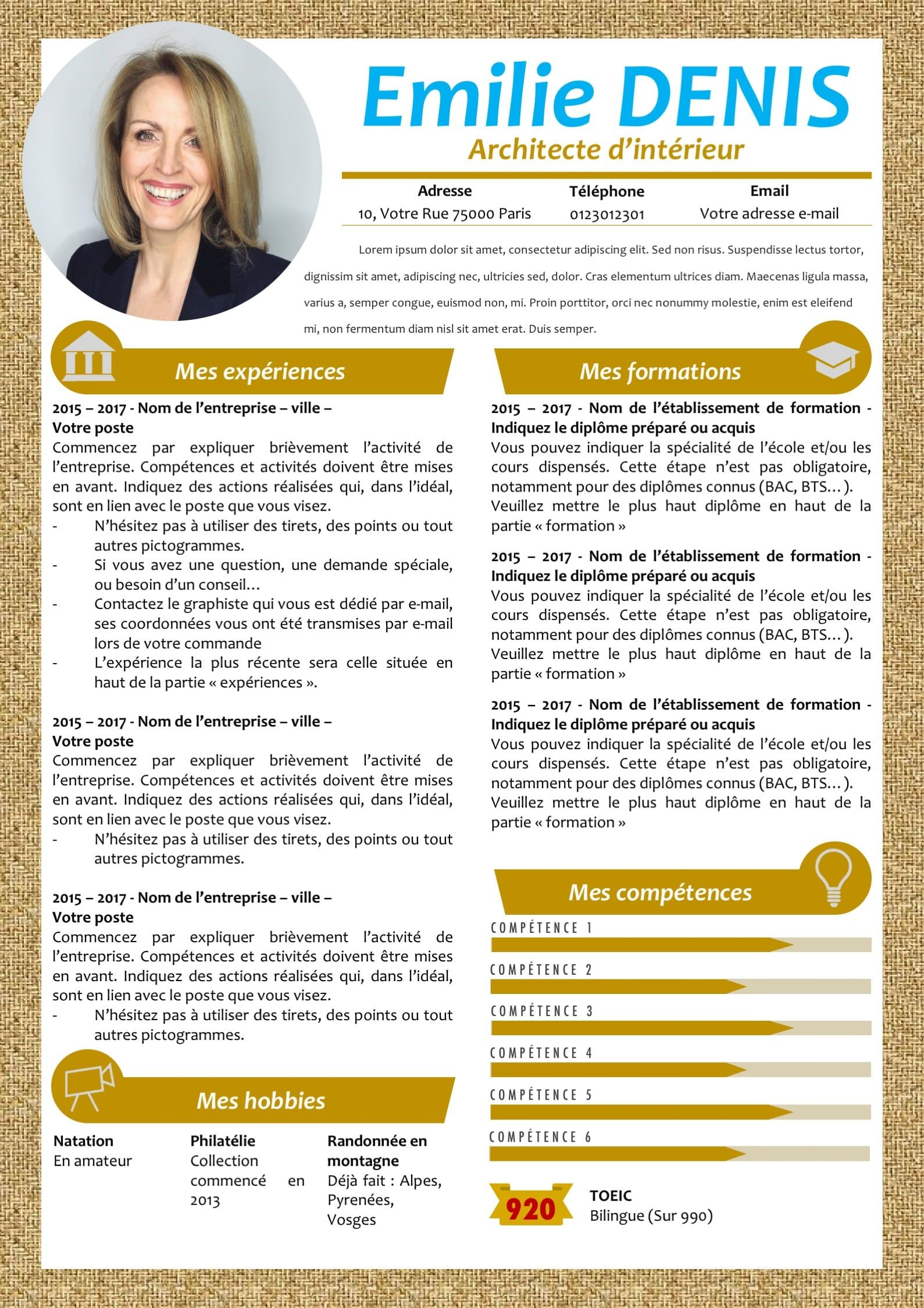 Modele Cv Et Lettre De Motivation Marron Modifiable Pour 6 99 Lettre De Motivation Modele Cv Modele De Cv Design