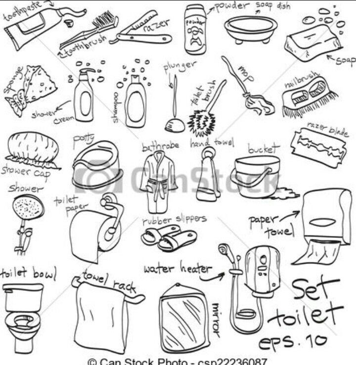 Toiletries And Cleaning Supplies Free Hand Drawing How To Draw
