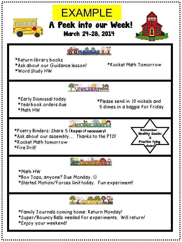A Peek Into Our Week Weekly Reminders Or Newsletter  Parents