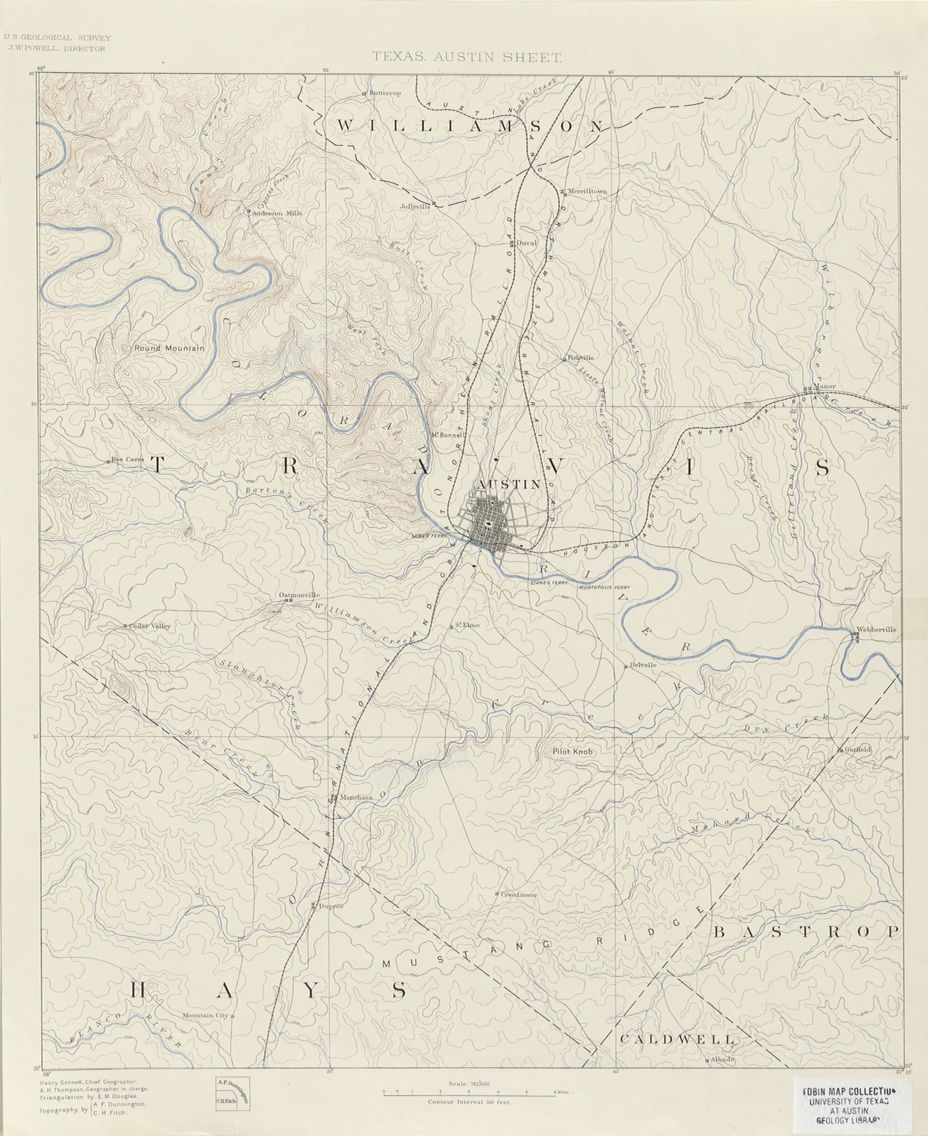 topographic map of austin Austin And Travis County 1894 Topographic Map Map Old Maps