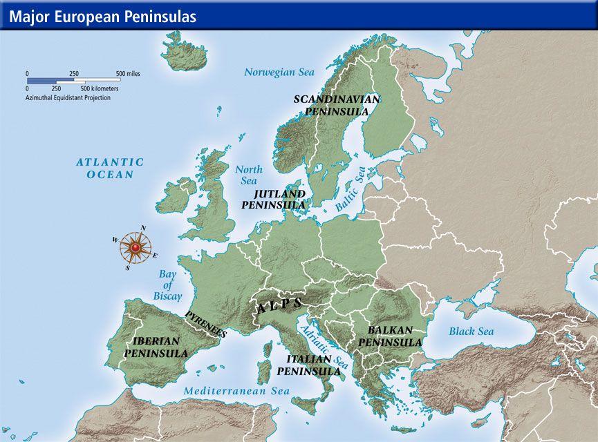 European Peninsulas Iberian Balkan Scandinavian Apennine Map Peninsula Scandinavian
