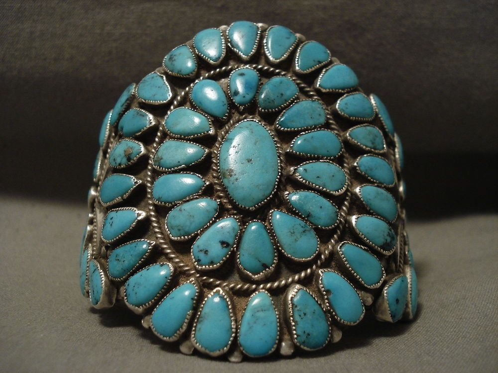 This piece contains a superior plethora of teardrop shaped turquoise stones that appear to be from the Blue Diamond turquoise mine in Nevada. Surrounding the stones are impeccable silver works that include ropes, beads and waving patterns. | eBay!