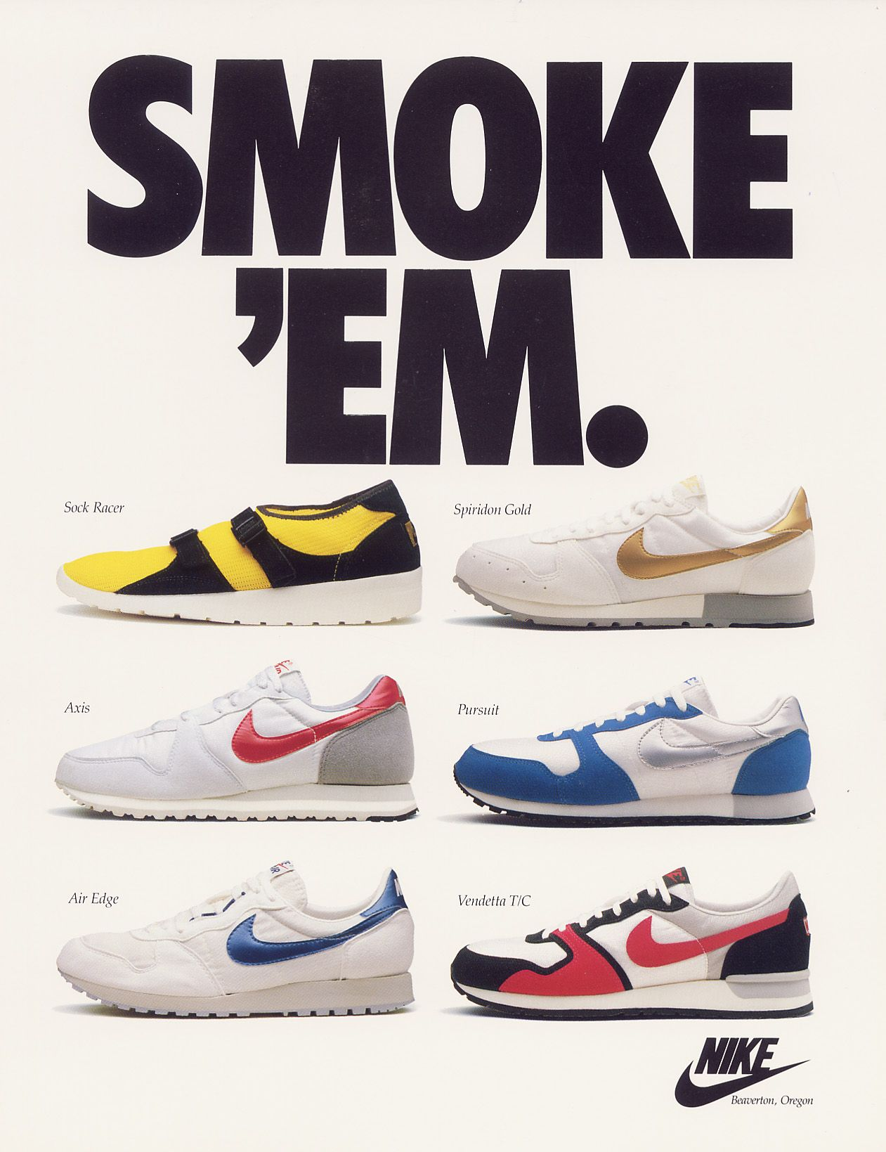 Nike Light Weight Ad From June 1986 Feat The Brand S Racing Shoes Nike Ad Vintage Nike Nike Poster