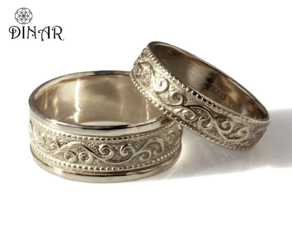 Hey, I found this really awesome Etsy listing at https://www.etsy.com/listing/230731876/silver-scrolls-wedding-band-set-unisex