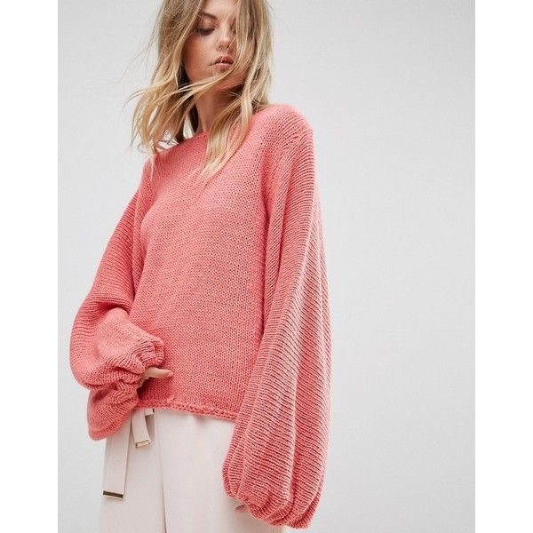 8e7098e161746 OneOn Hand Knitted Balloon Sleeve Jumper (11,175 INR) ❤ liked on Polyvore  featuring tops, sweaters, hand knit sweater, fringe sweater, cable sweater,  ...