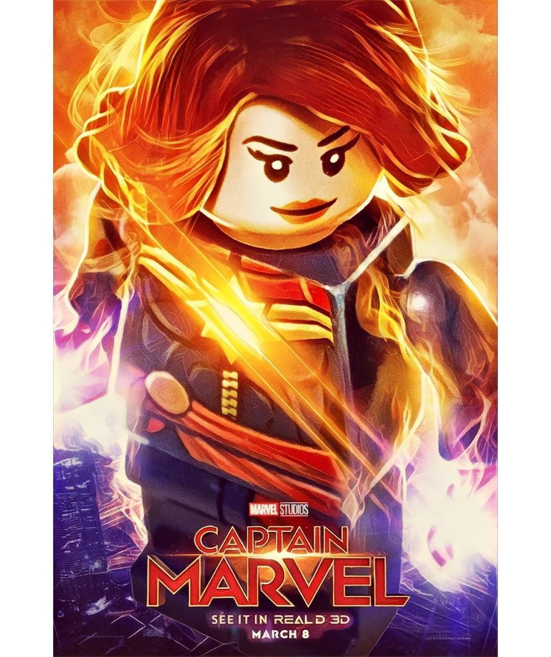 Captain Marvel As A Lego Minifigure Poster Lego Poster Marvel Posters Captain Marvel