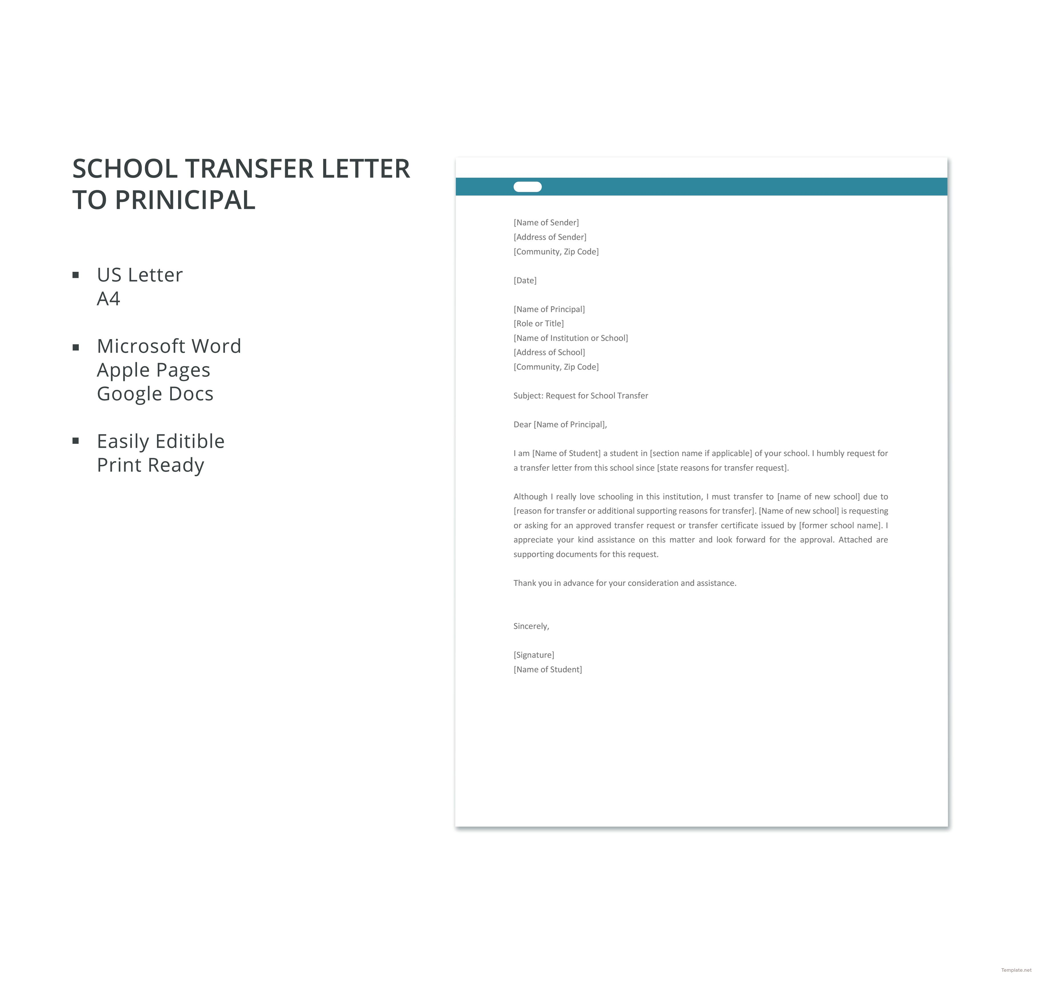 Free school transfer letter to principal business letter