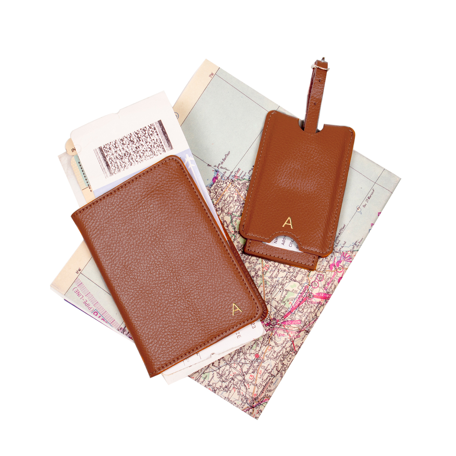 08b9c95bff1 Cathy s Concepts Brown Leather Passport Holder   Luggage Tag Set ...